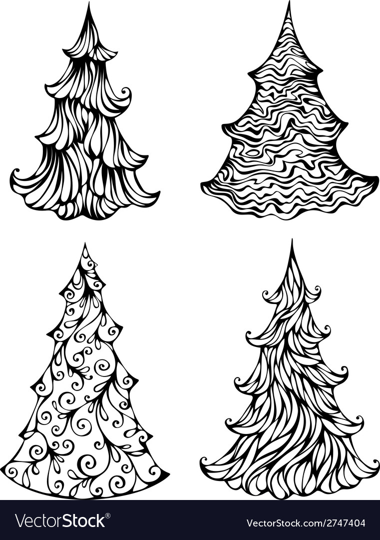Spruces isolated on white background vector   Price: 1 Credit (USD $1)