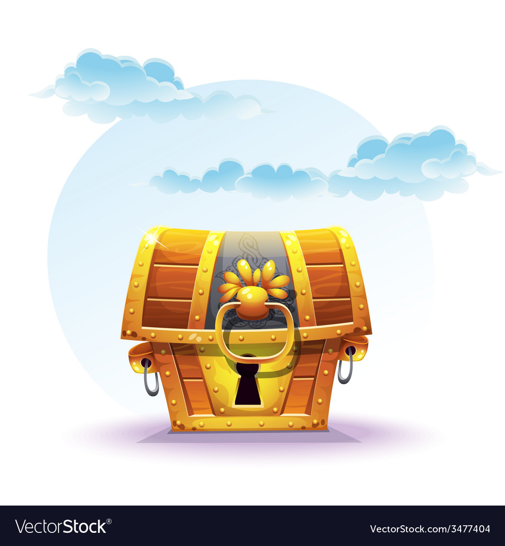 Treasure chest on a background of clouds vector | Price: 3 Credit (USD $3)