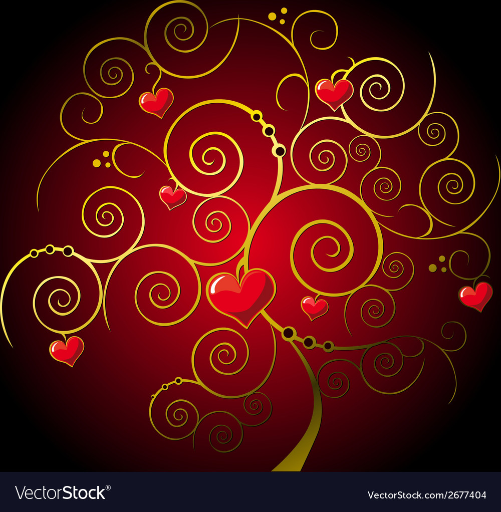 Valentine gold tree vector | Price: 1 Credit (USD $1)