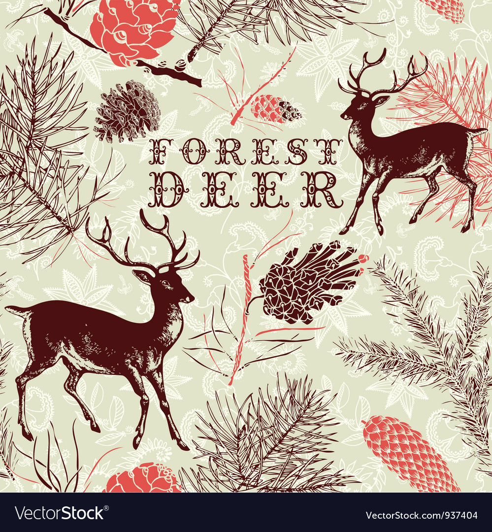 Vintage forest deer background vector | Price: 1 Credit (USD $1)