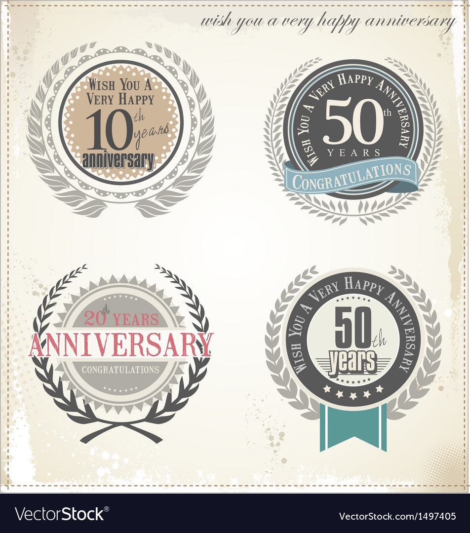 Anniversary retro labels vector | Price: 3 Credit (USD $3)