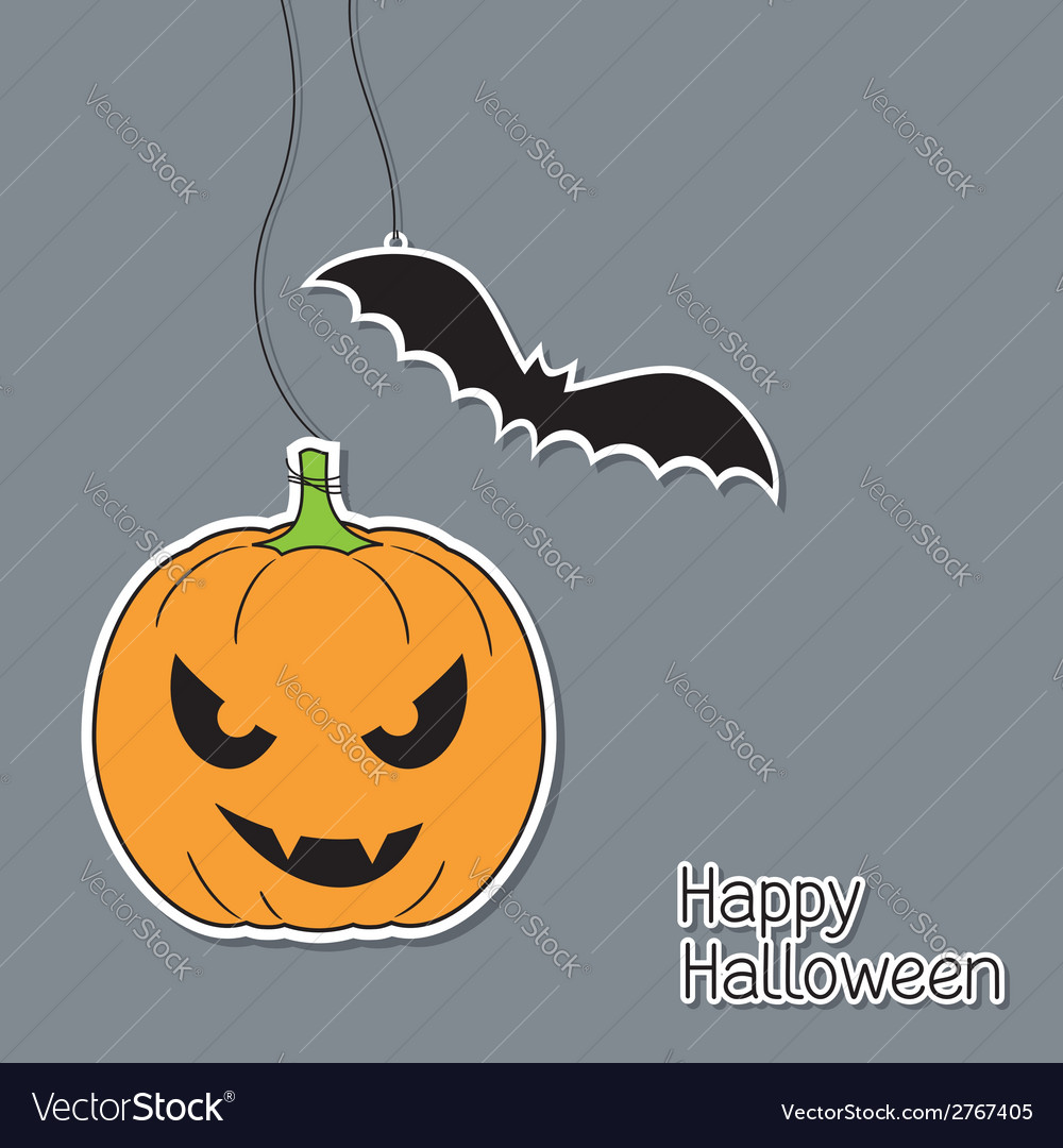 Halloween pumpkin and bat vector | Price: 1 Credit (USD $1)