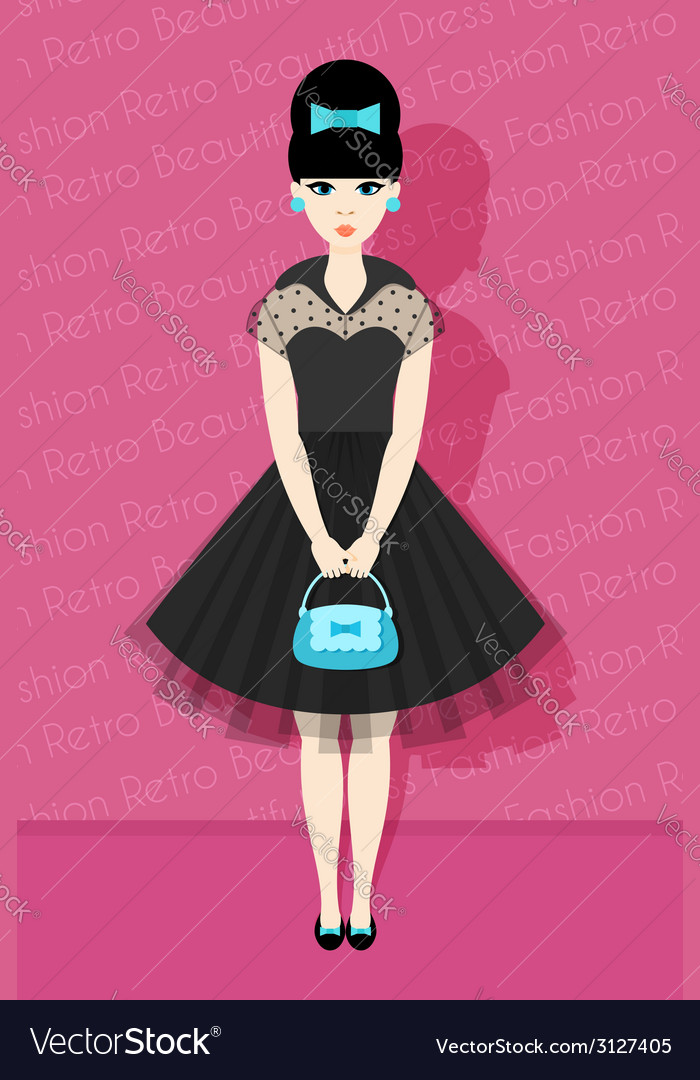 Pretty retro girl in flat style vector | Price: 1 Credit (USD $1)