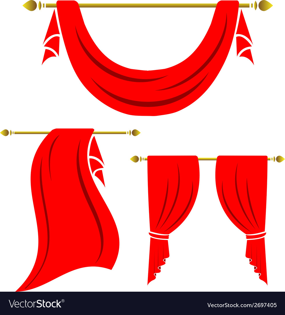 Red curtain vintage set on white background vector | Price: 1 Credit (USD $1)