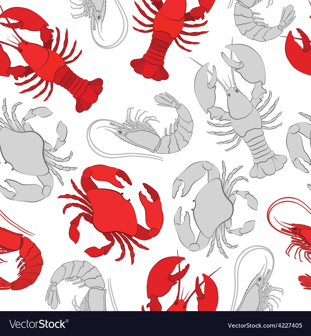 Seafood lobster crab and prawn vector | Price: 1 Credit (USD $1)
