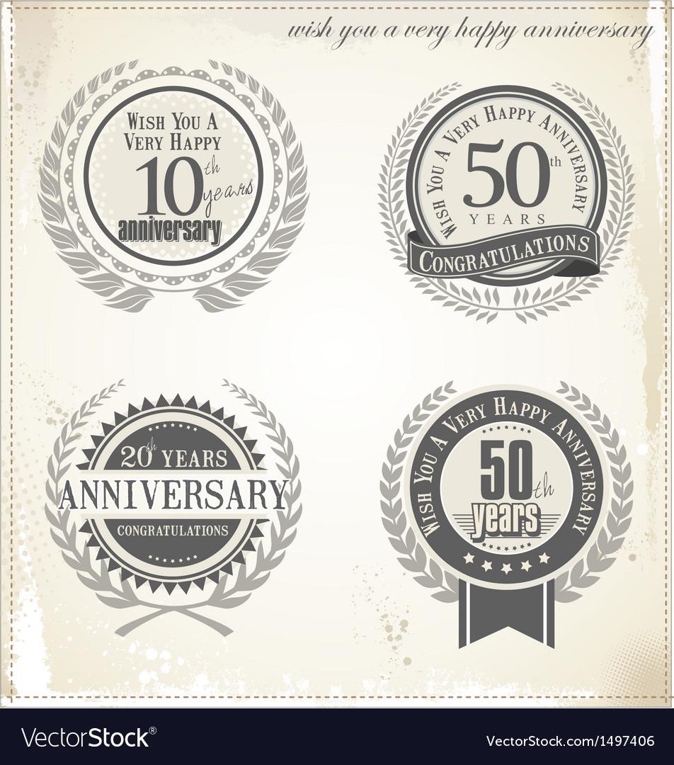 Anniversary retro labels vector | Price: 3 Credit (USD $3)