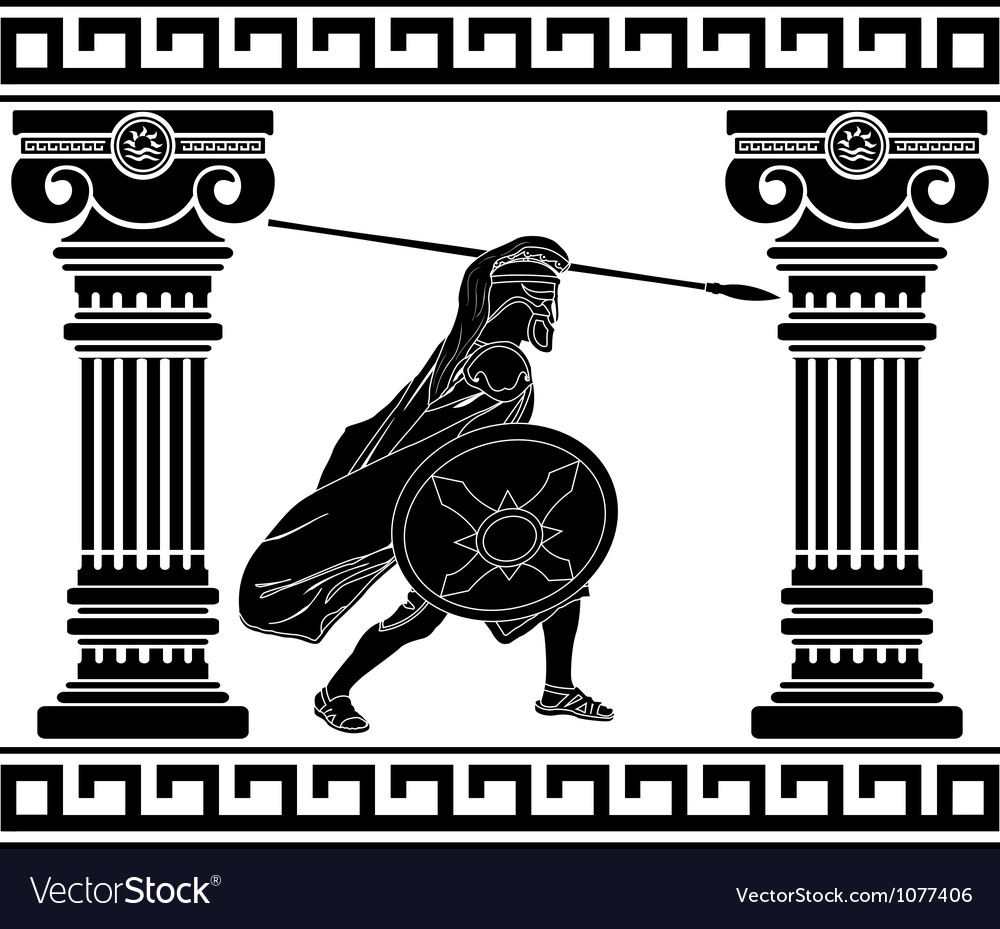 Black warrior with with columns second variant vector | Price: 1 Credit (USD $1)