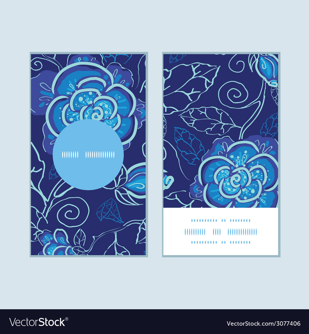 Blue night flowers vertical round frame pattern vector | Price: 1 Credit (USD $1)