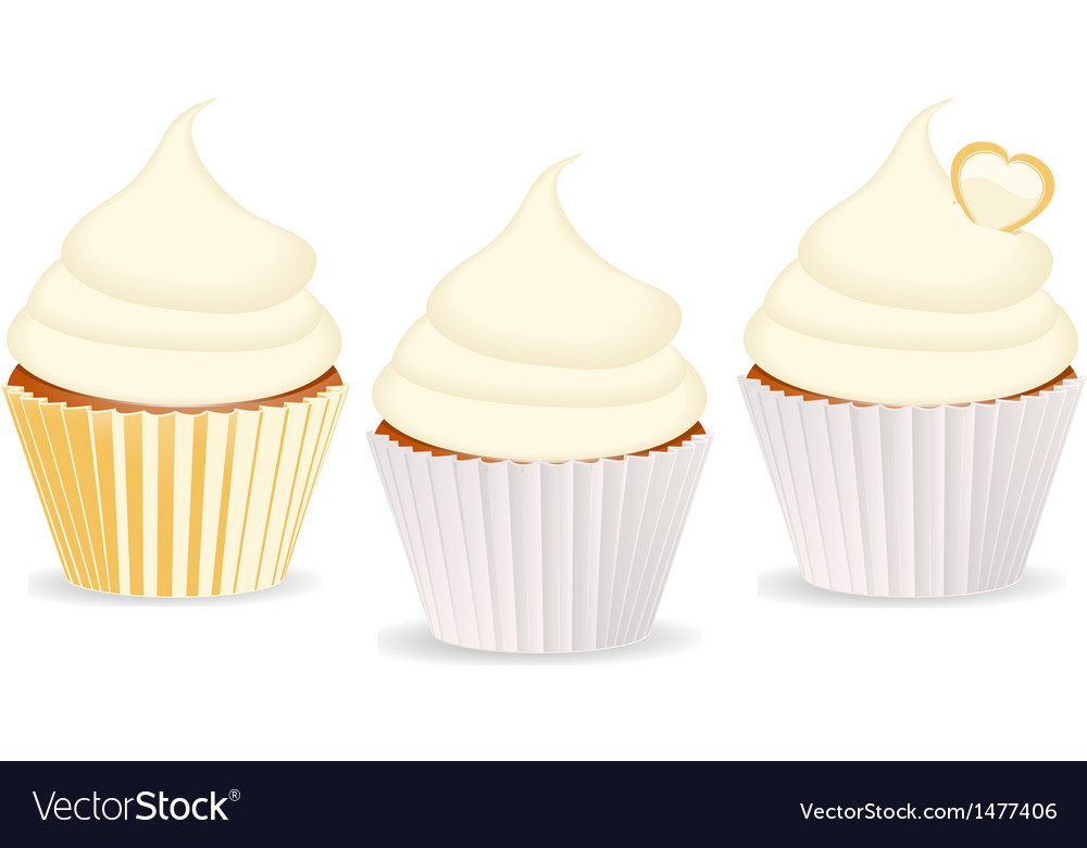 Cupcakes vanilla vector | Price: 1 Credit (USD $1)