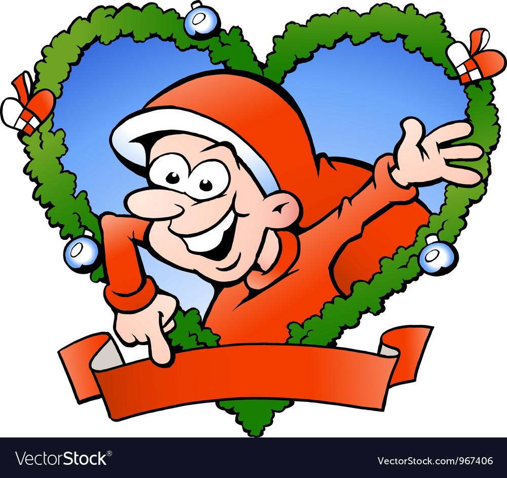 Hand-drawn of an happy santa boy vector | Price: 1 Credit (USD $1)