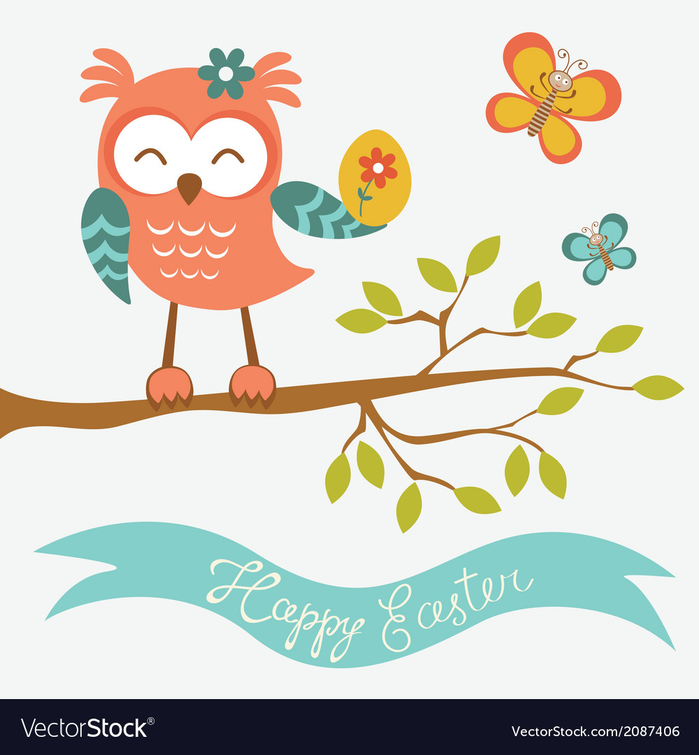 Happy easter owl sitting on a branch vector | Price: 1 Credit (USD $1)