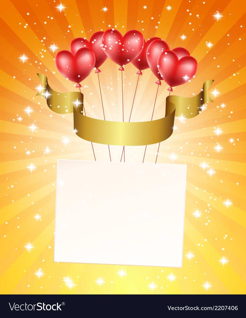 Holiday background with heart balloons vector   Price: 1 Credit (USD $1)