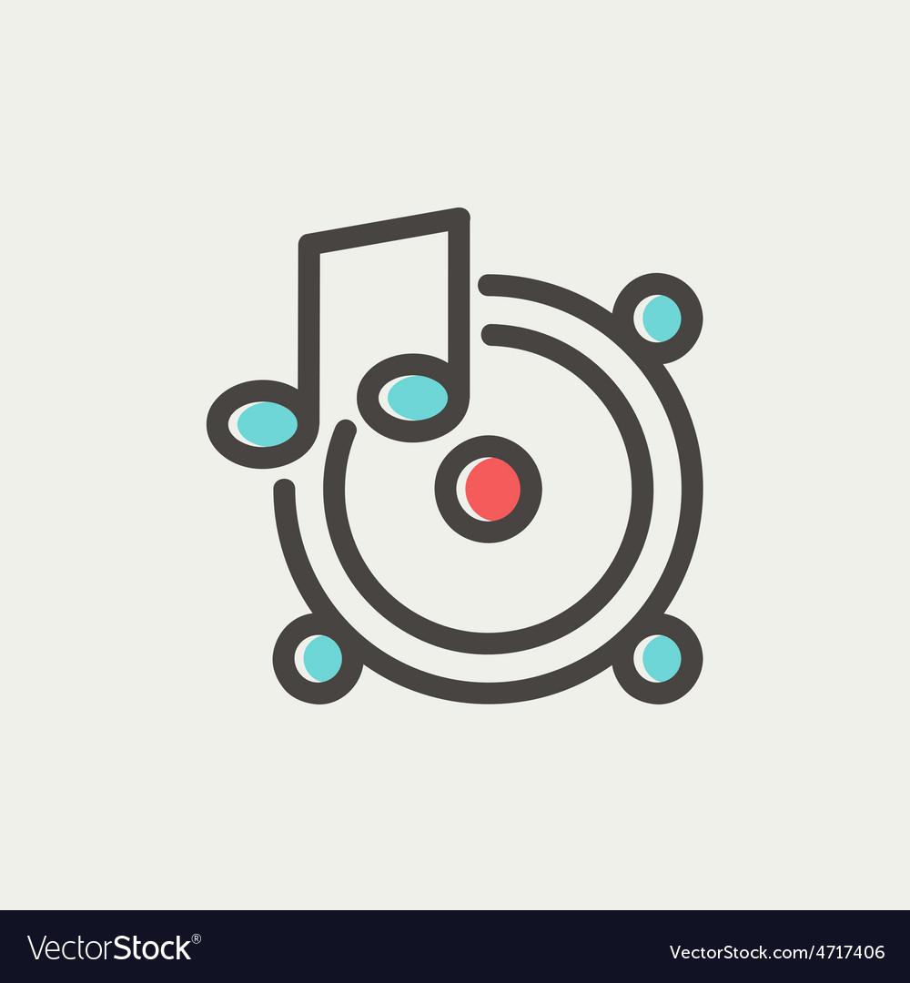 Music tambourine thin line icon vector | Price: 1 Credit (USD $1)
