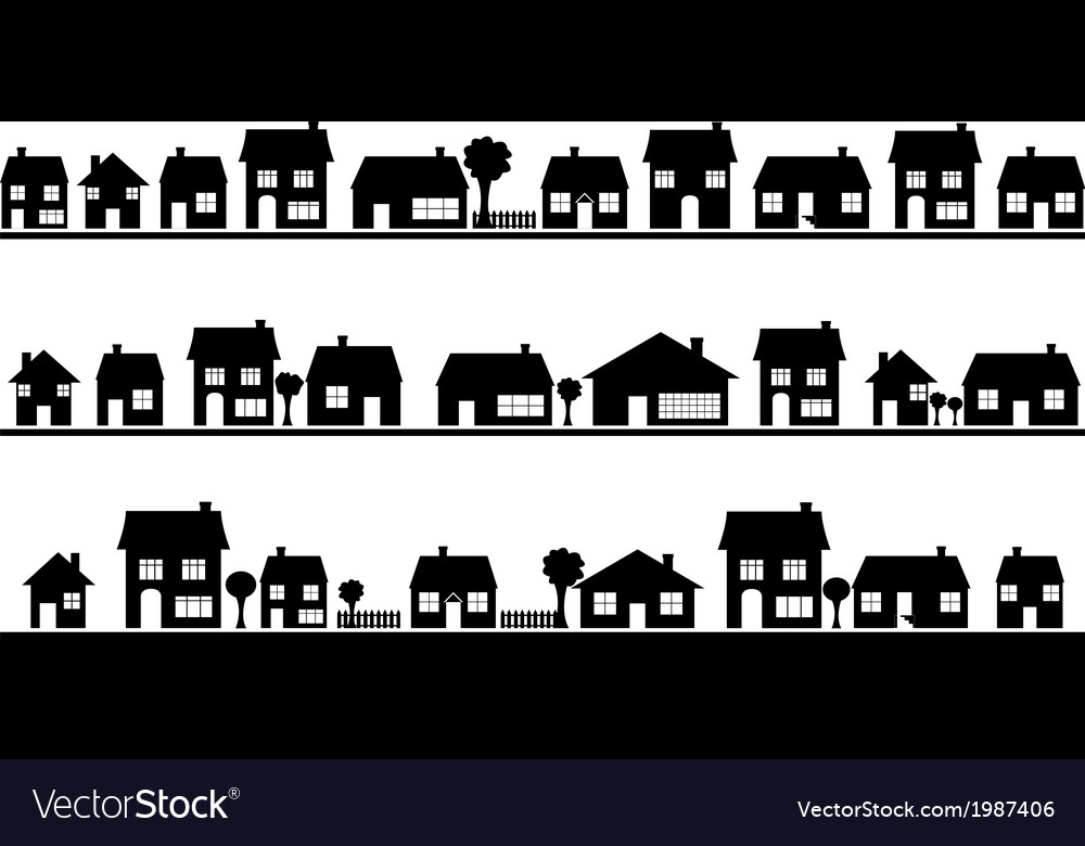 Neighborhood with homes vector | Price: 1 Credit (USD $1)