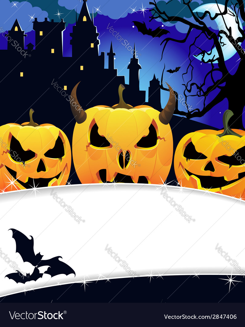 Night haunted castle vector | Price: 1 Credit (USD $1)