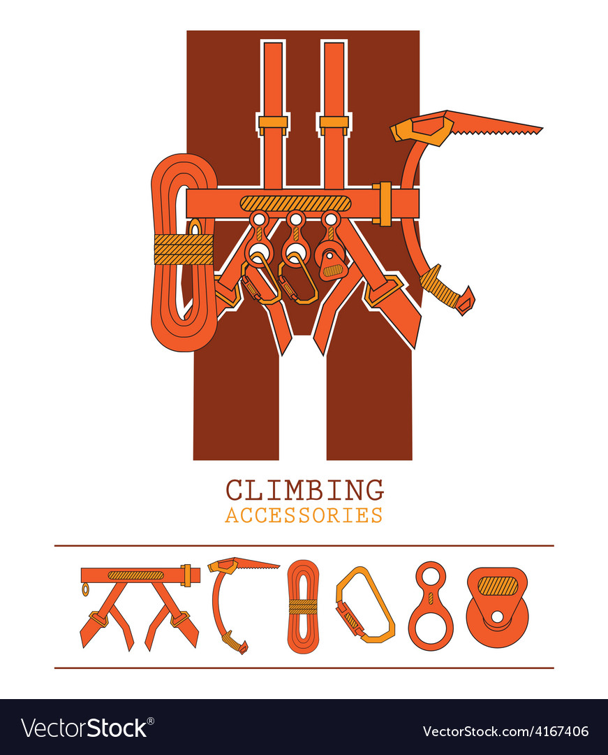 Orange yellow climbing accessories outfit vector | Price: 1 Credit (USD $1)