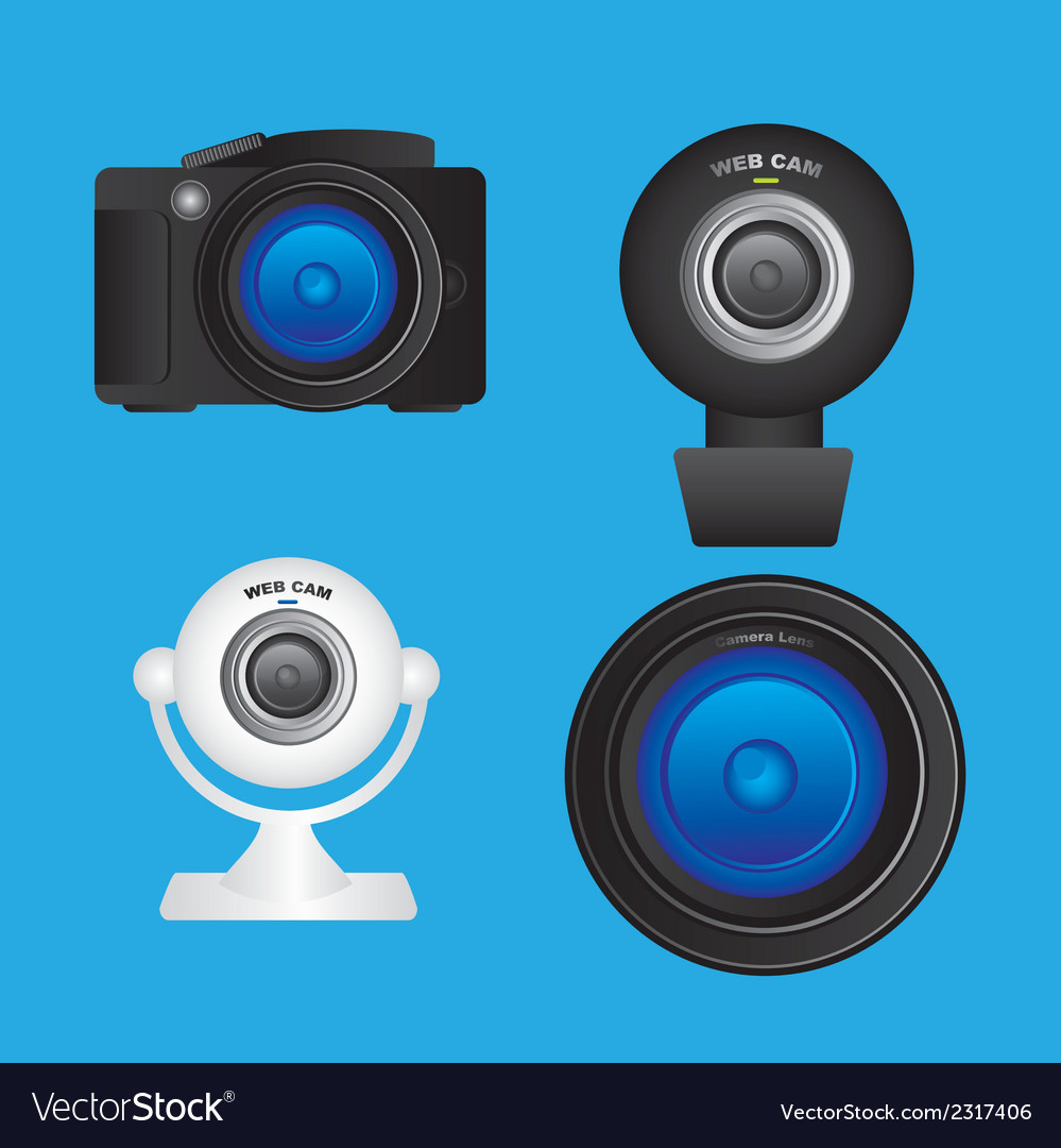 Set of cameras and lenses camera professional web vector | Price: 1 Credit (USD $1)