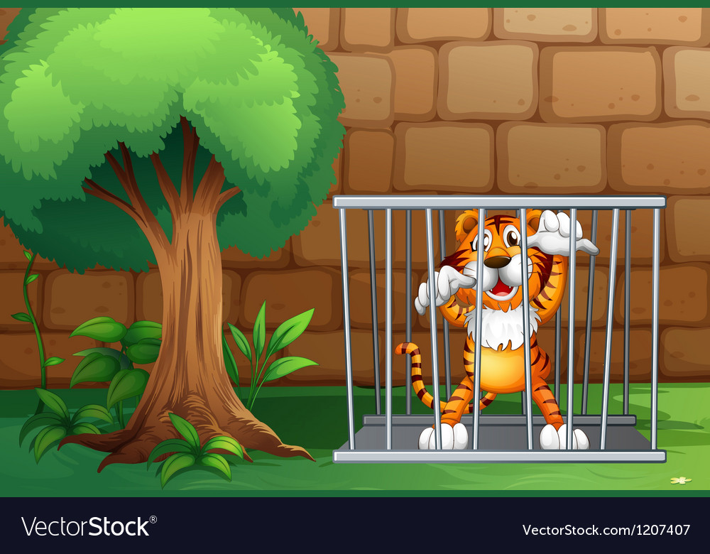 A tiger in a cage made of steel vector | Price: 1 Credit (USD $1)