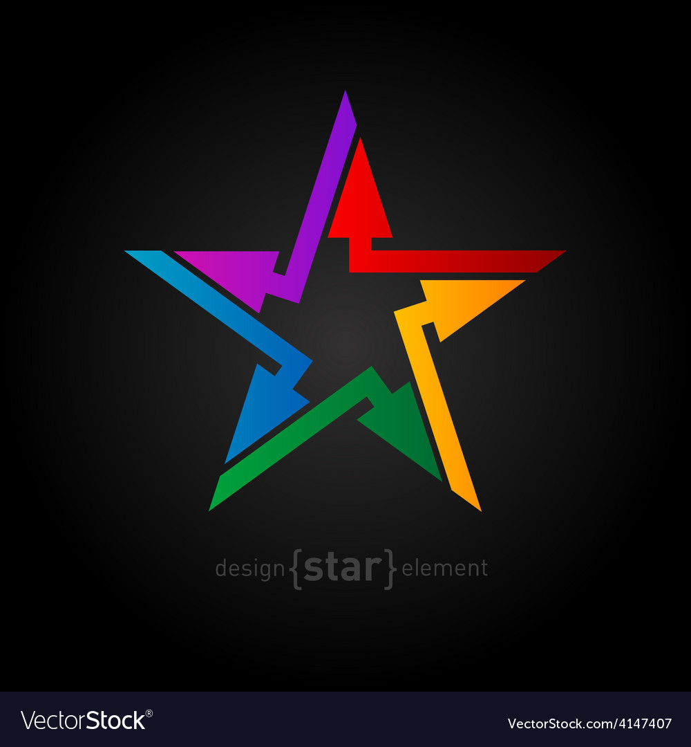Abstract rainbow star design element with arrows vector | Price: 1 Credit (USD $1)