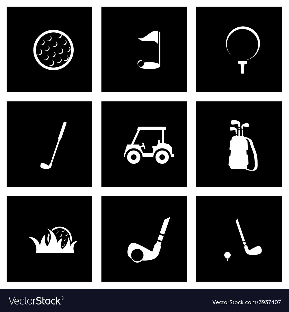 Black golf icon set vector | Price: 1 Credit (USD $1)