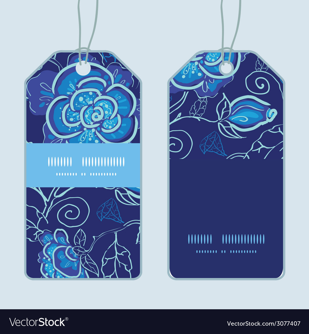 Blue night flowers vertical stripe frame pattern vector | Price: 1 Credit (USD $1)