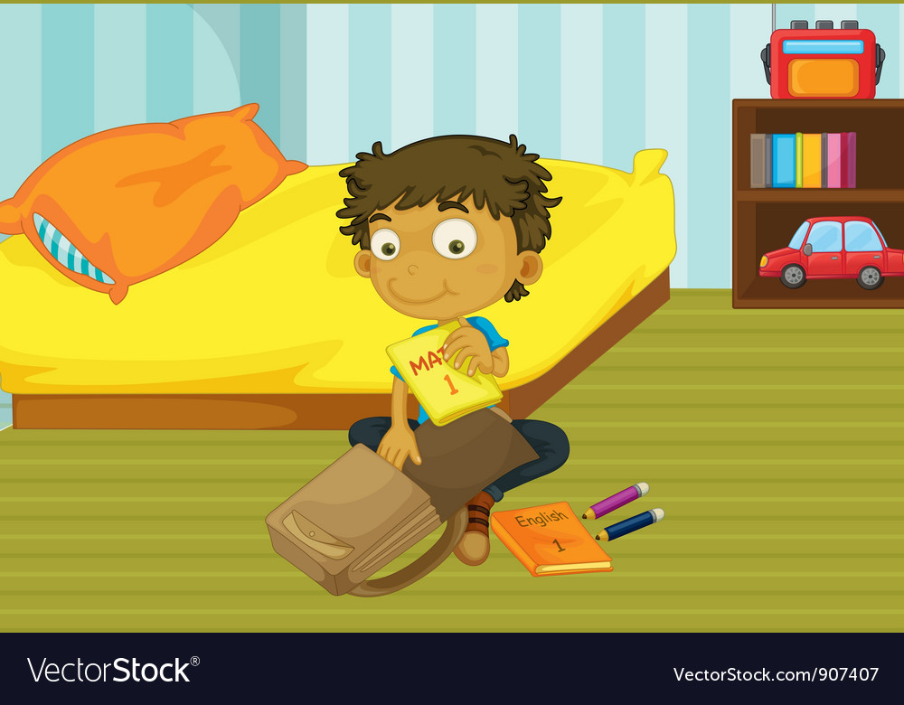 Boy packing his bag vector | Price: 3 Credit (USD $3)