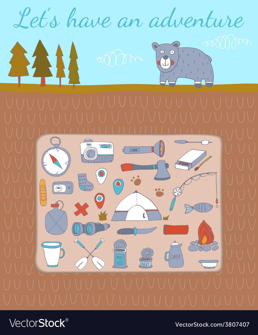 Camping adventure set vector | Price: 1 Credit (USD $1)