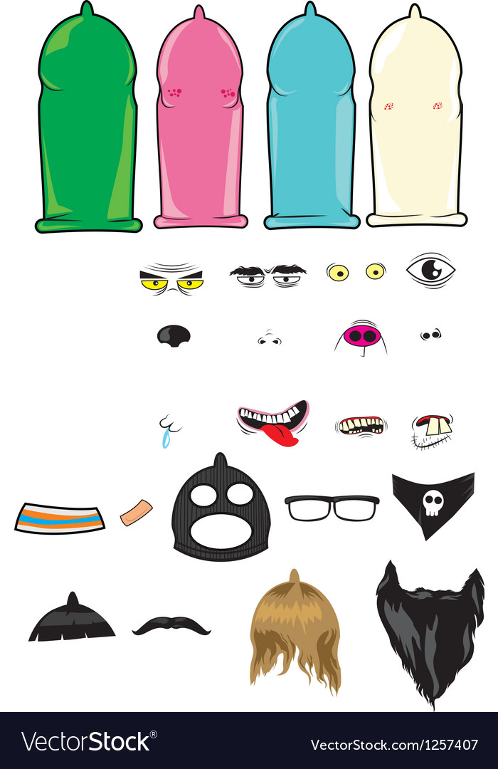 Create your own condoms character kit vector | Price: 3 Credit (USD $3)