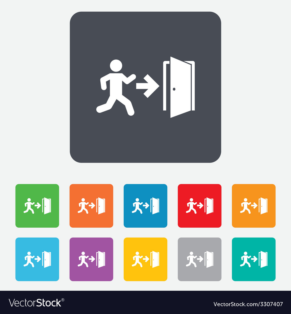 Emergency exit sign icon door with right arrow vector | Price: 1 Credit (USD $1)