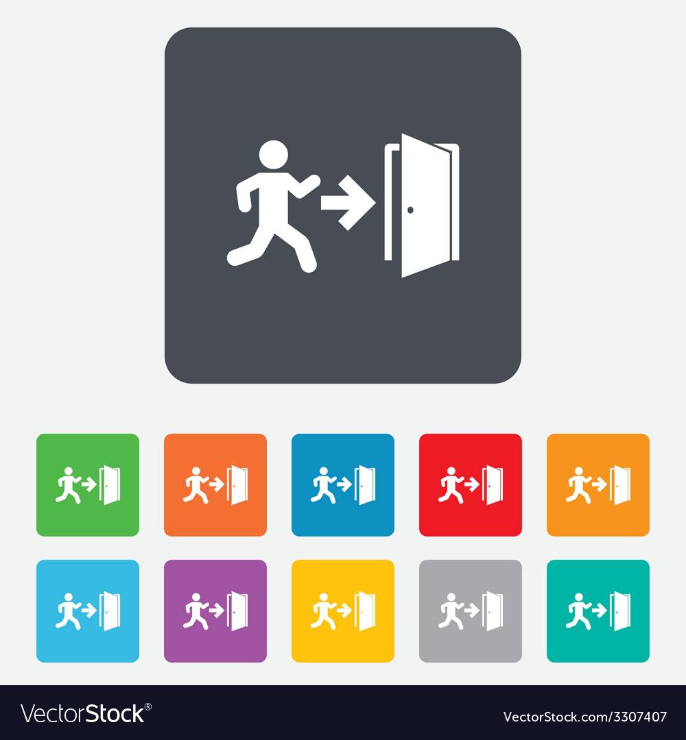Emergency exit sign icon door with right arrow vector | Price: 1 Credit (USD $1)