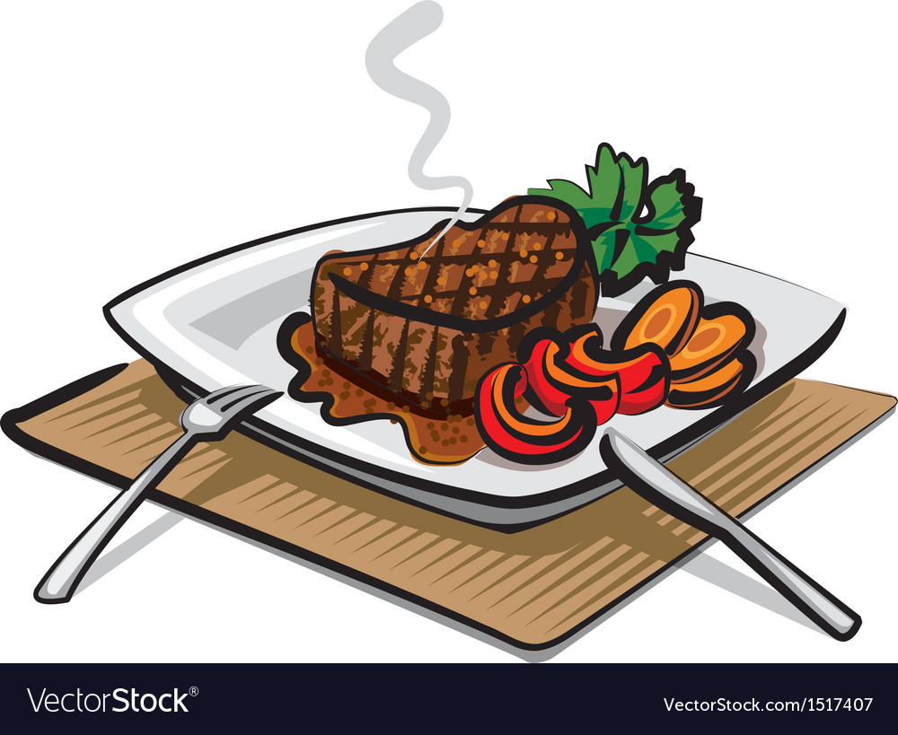 Hot beef steak vector | Price: 1 Credit (USD $1)