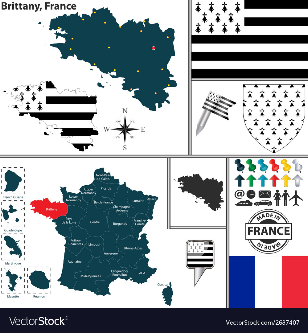 Map of brittany vector | Price: 1 Credit (USD $1)