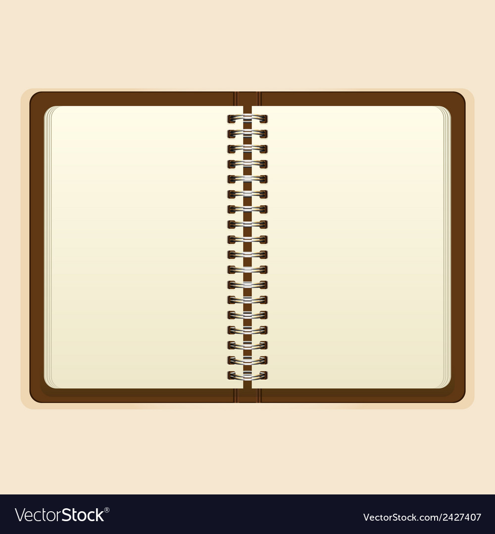 Open notebook with white page on beige background vector | Price: 1 Credit (USD $1)