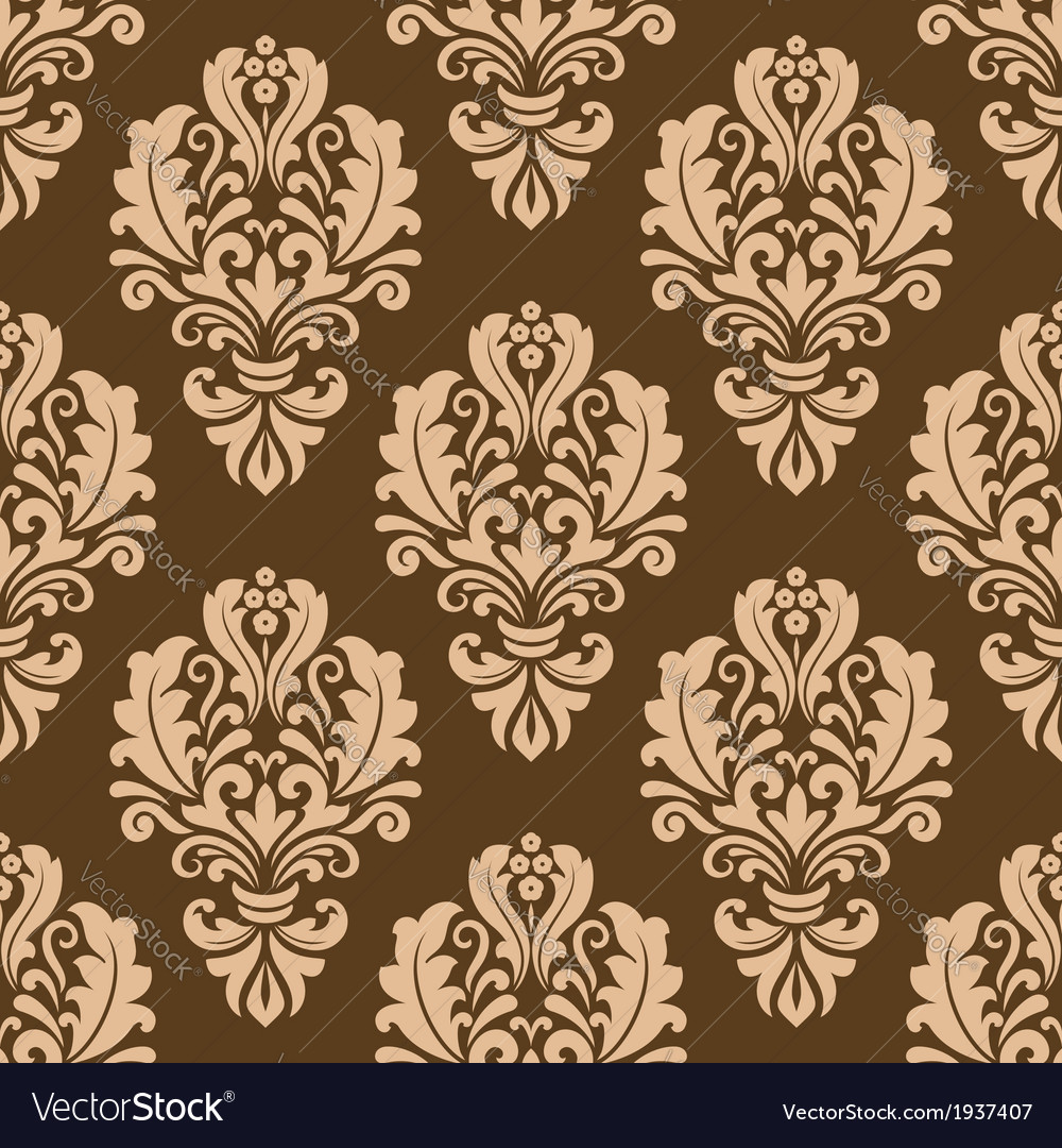 Repeat floral motifs on a brown background vector | Price: 1 Credit (USD $1)