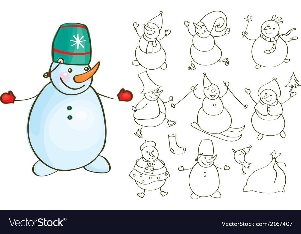 Snowmen vector | Price: 1 Credit (USD $1)