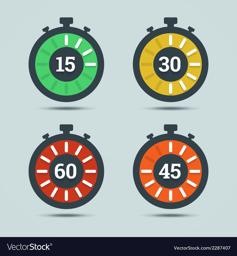 Timer icons with color gradation and numbers vector | Price: 1 Credit (USD $1)