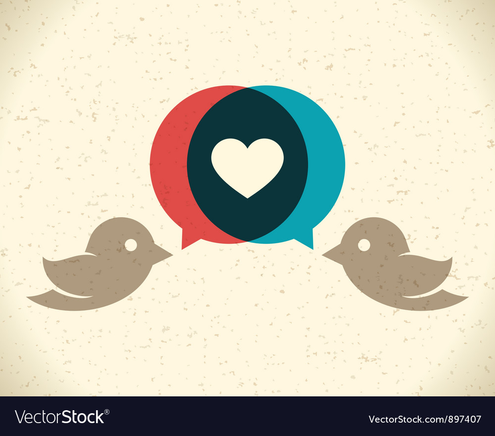 Vintage birds and heart vector | Price: 1 Credit (USD $1)