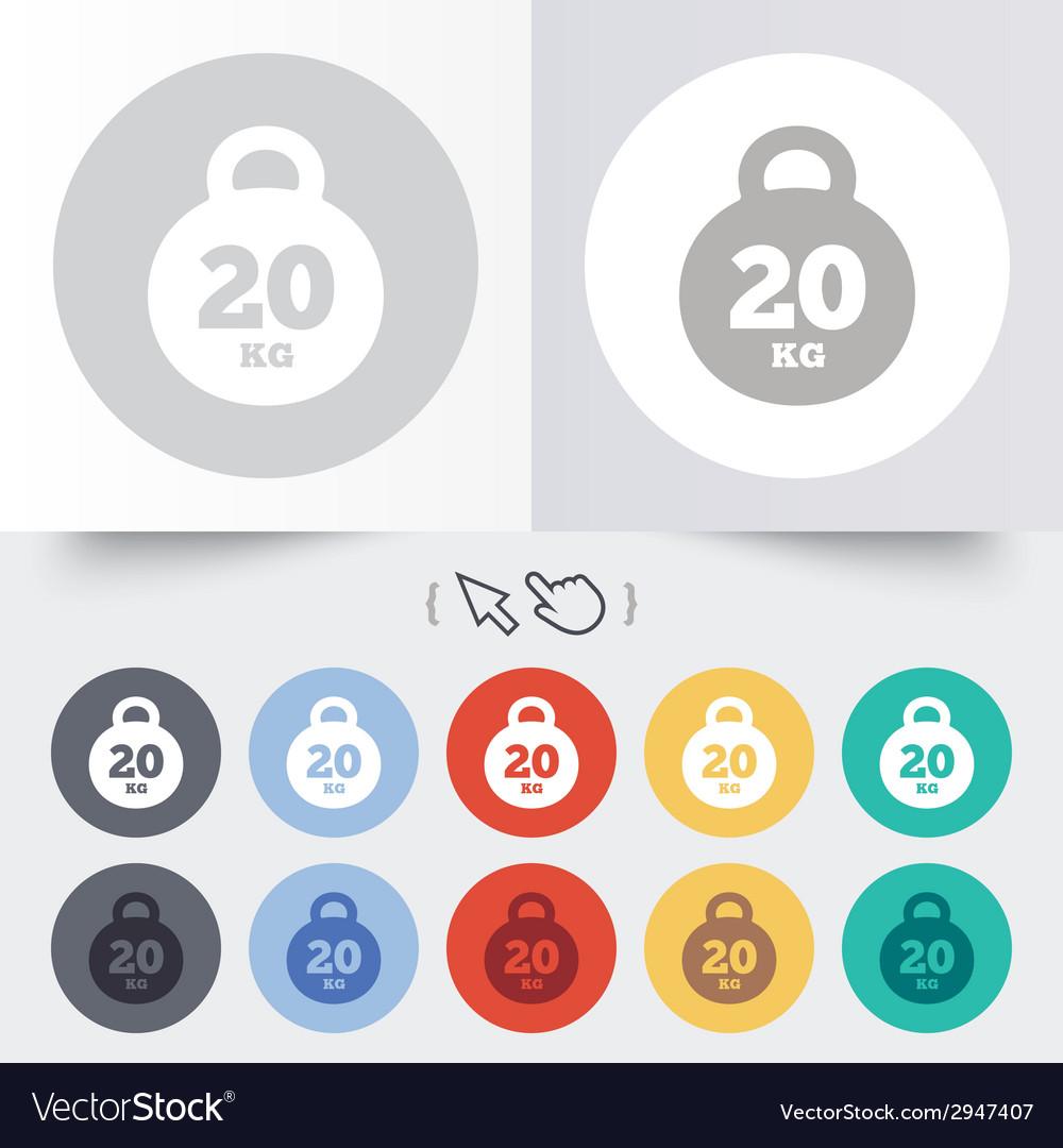 Weight sign icon 20 kilogram kg sport symbol vector   Price: 1 Credit (USD $1)
