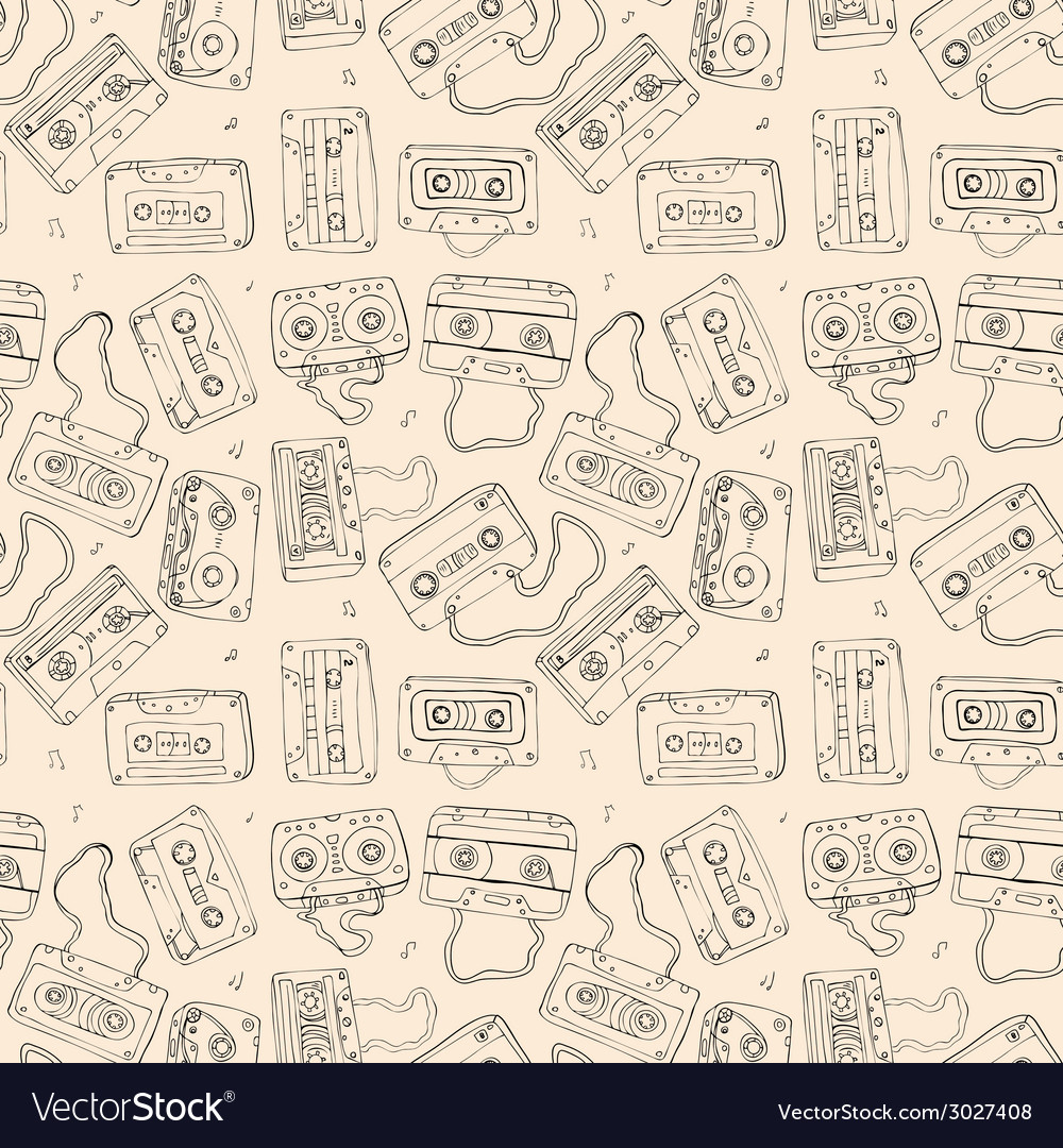 Audio cassette seamless pattern vector | Price: 1 Credit (USD $1)