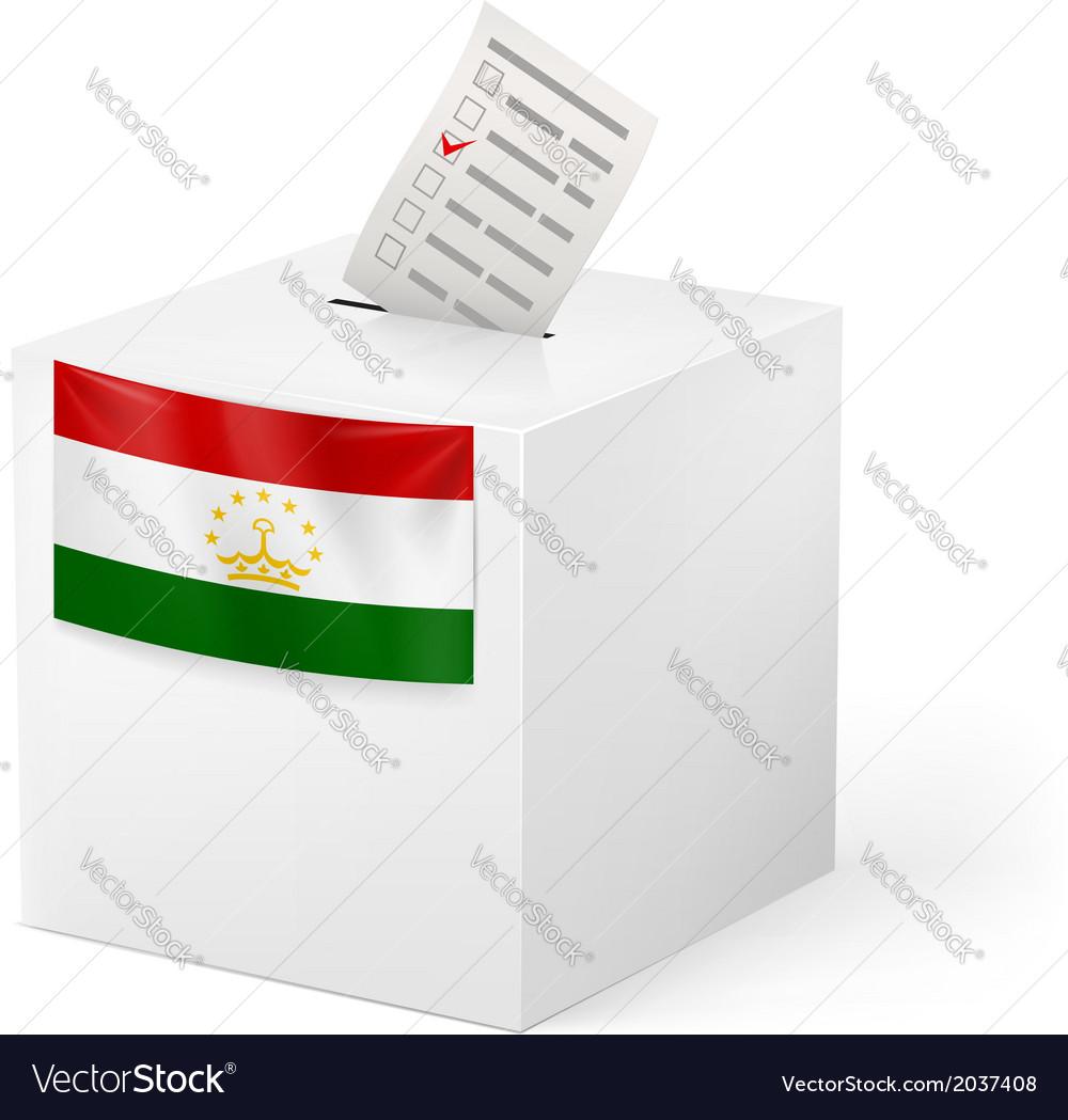 Ballot box with voting paper tajikistan vector   Price: 1 Credit (USD $1)