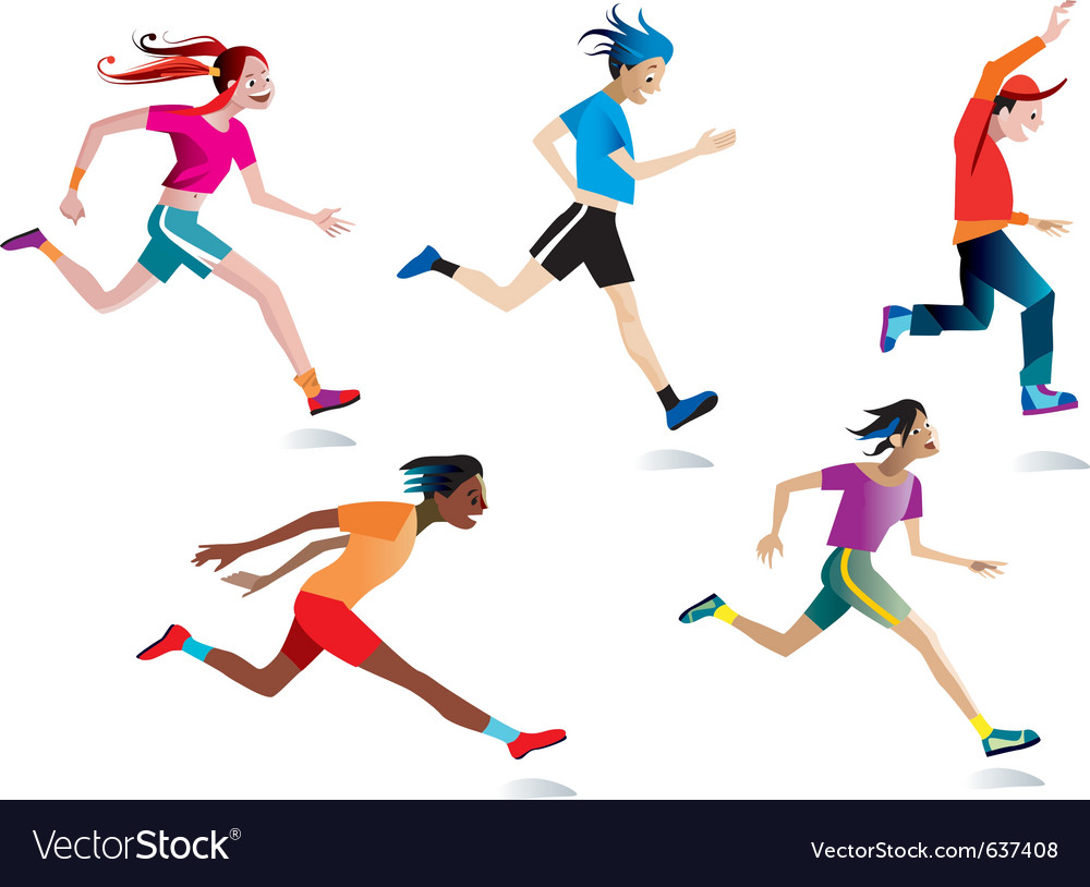 Boys and girls running vector   Price: 3 Credit (USD $3)
