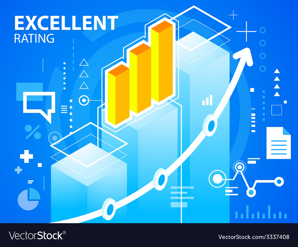 Bright excellent rating and bar chart on blu vector   Price: 3 Credit (USD $3)