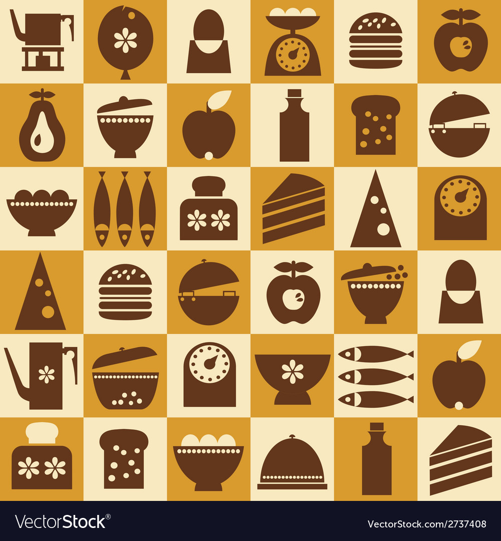 Brown kitchenware seamless vector | Price: 1 Credit (USD $1)