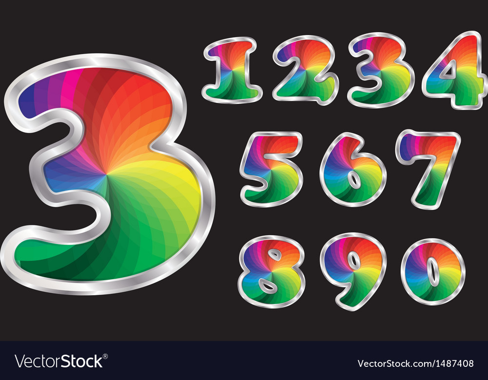 Colorful rainbow numbers set with silver frame vector | Price: 3 Credit (USD $3)