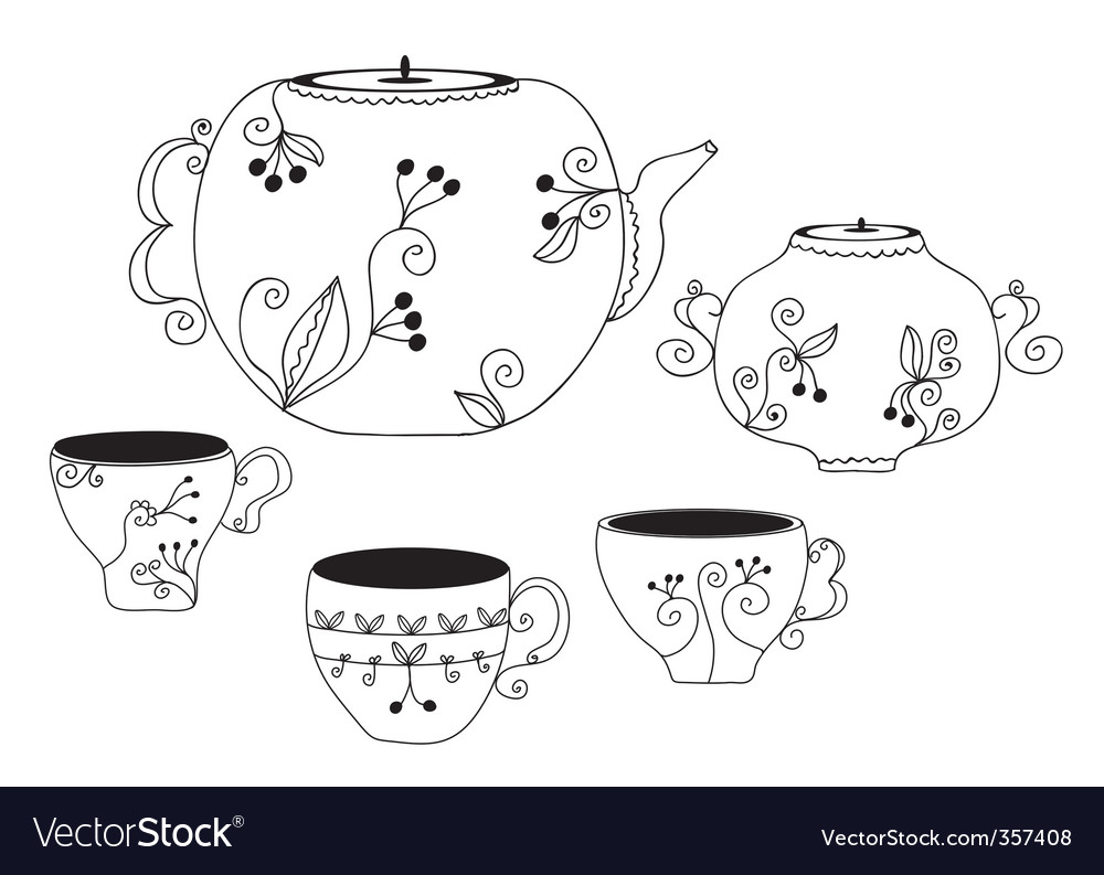Cup and pot vector | Price: 1 Credit (USD $1)