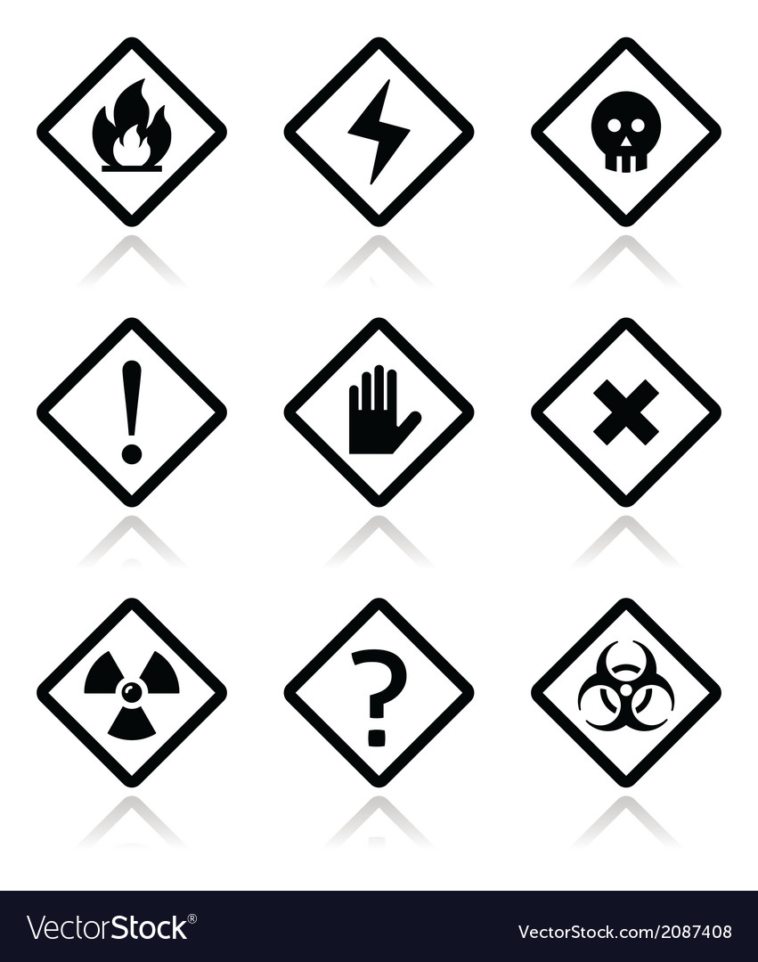 Danger warning attention square icons set vector | Price: 1 Credit (USD $1)