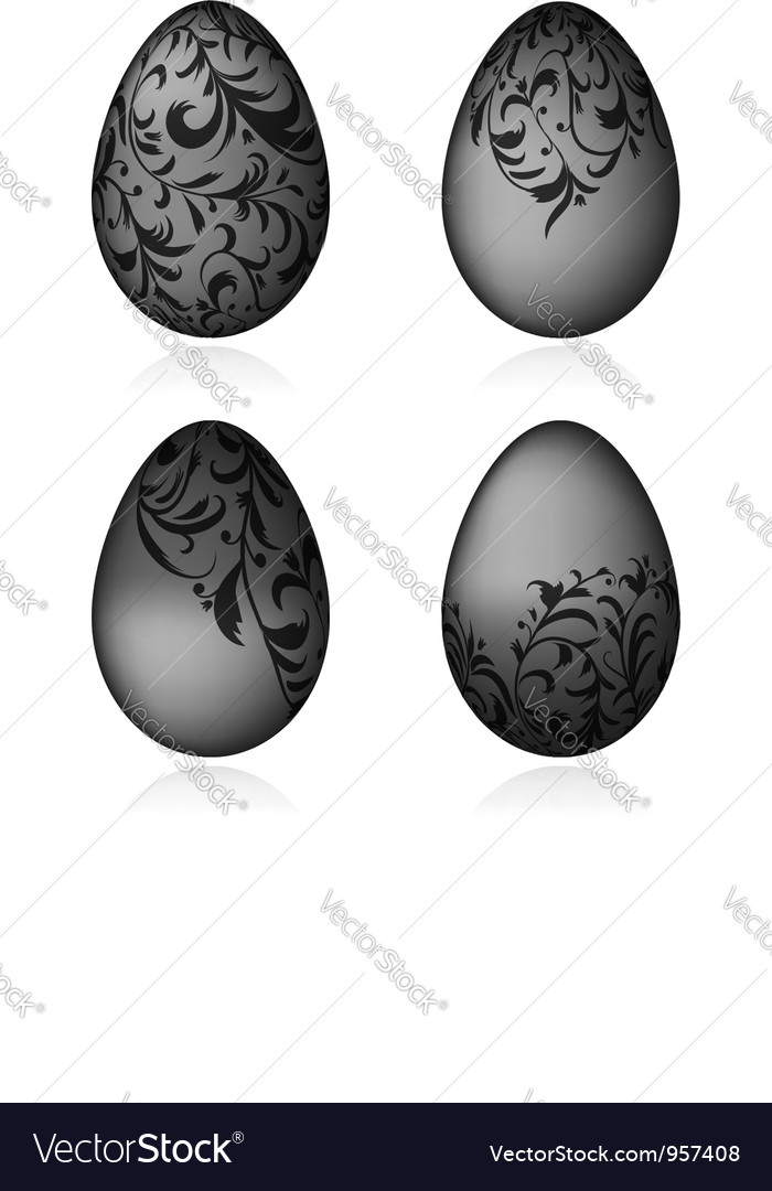 Easter eggs black with floral ornament vector | Price: 1 Credit (USD $1)