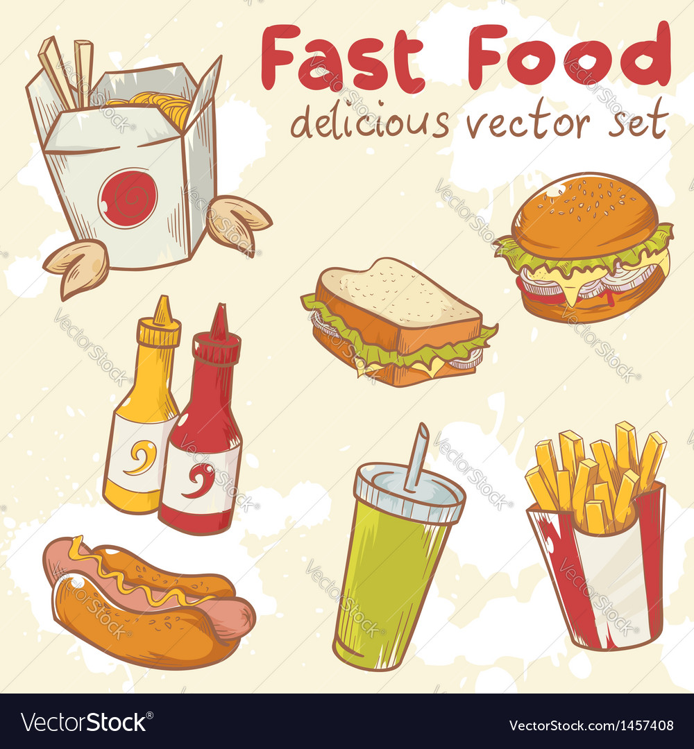 Fastfood delicious hand drawn set vector | Price: 1 Credit (USD $1)