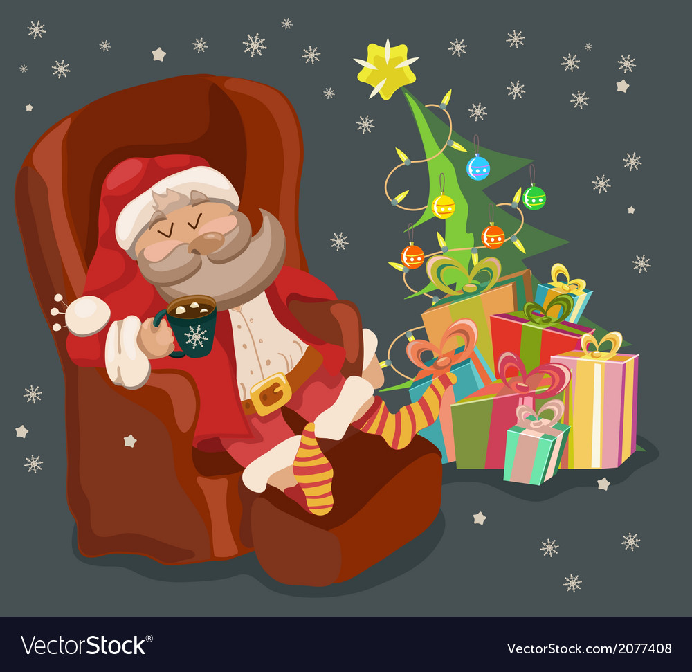 Funny color christmas background with santa claus vector | Price: 1 Credit (USD $1)