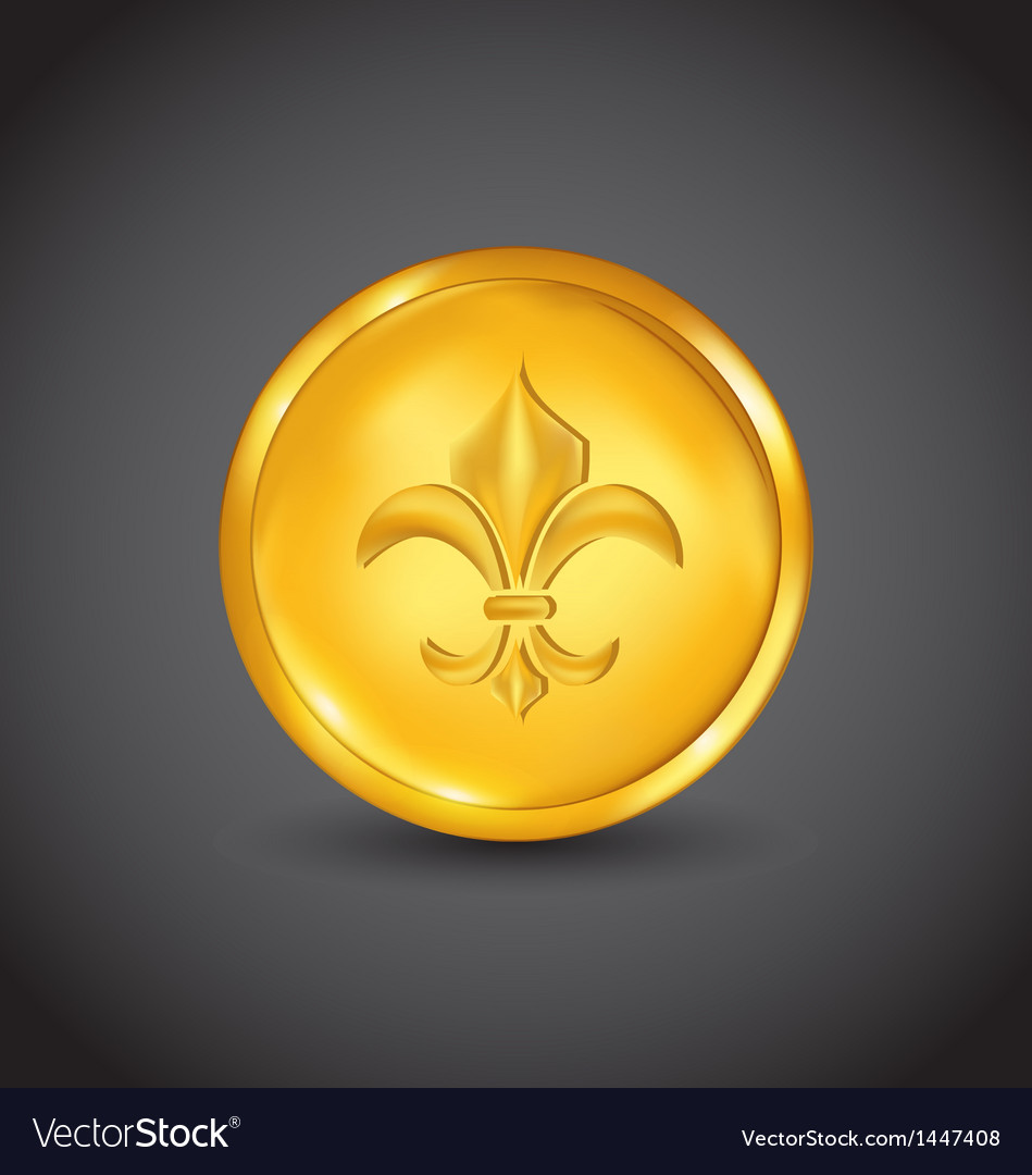Golden coin with fleur de lis vector | Price: 1 Credit (USD $1)